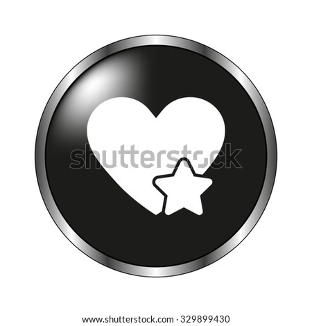 Add to favorites - Heart with Star icon - vector button - stock vector