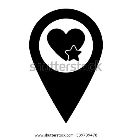 Add to favorites - Heart with Star - map pointer vector icon - stock vector