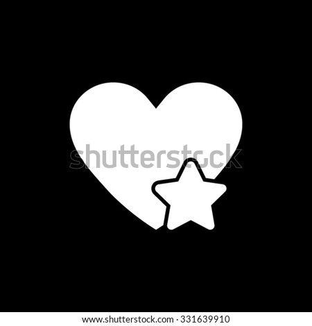 Add to favorites - Heart with Star - white vector icon - stock vector