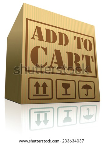 add to shopping cart vector sign for online order at internet web shop cardboard box