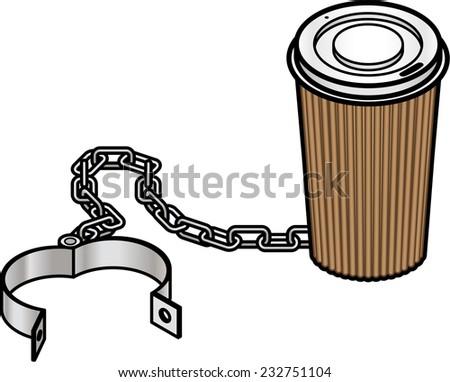 Addiction concept: takeaway coffee / caffeine trap. - stock vector
