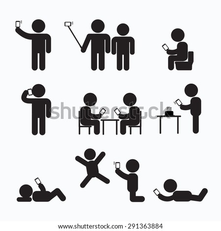 Addiction Obsession Using Smartphone Stick Figure Pictogram Icon