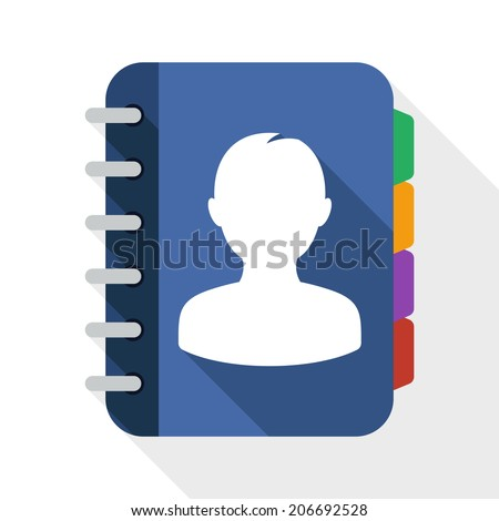 Address book flat icon with long shadow on white background - stock vector