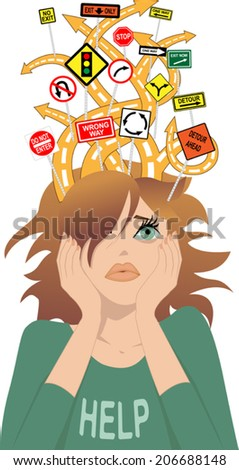 ADHD. Tangled roads with contradictory road signs coming out of a head of a young girl, as a metaphor for attention deficit disorder - stock vector