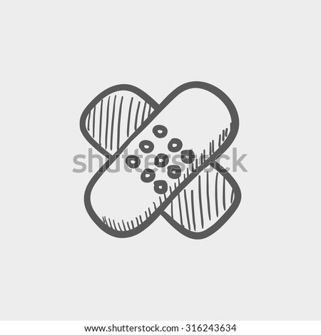 Adhesive bandages sketch icon for web, mobile and infographics. Hand drawn vector dark grey icon isolated on light grey background. - stock vector