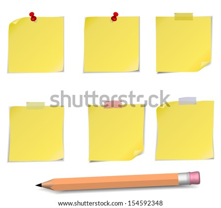 Adhesive Notes with pin and pencil isolated on white - stock vector