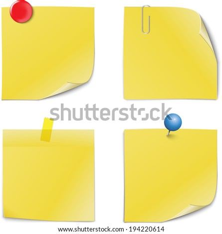 Adhesive Notes with pin, clip, magnet and scotch isolated on white - stock vector