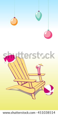 Adirondack Beach chair with Santa Claus hat and Drink. Vector illustration with place for your copy text. EPS10 - stock vector