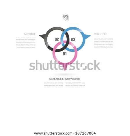 Adjustable and scalable eps10 vector design of an abstract geometric infographics text box panel for web site or application element. CMYK edition. - stock vector