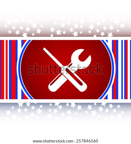 adjustable wrench and screwdriver icon web button isolated on white - stock vector