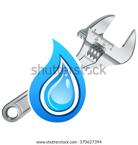 adjustable wrench and water drop - vector icon - stock vector