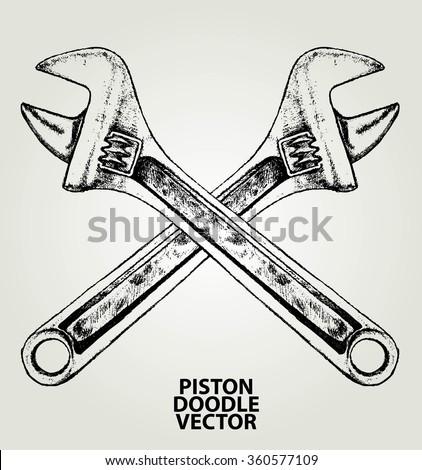 adjustable wrench sketch vector element design stock vector 360577109 shutterstock. Black Bedroom Furniture Sets. Home Design Ideas