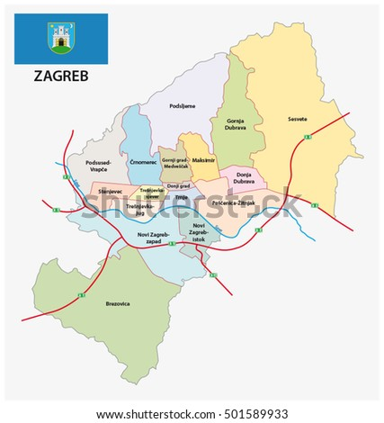 Administrative Division Map Croatia Capital Zagreb Stock Vector HD