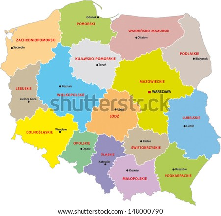 Administrative Division Poland Stock Vector 148000790 Shutterstock