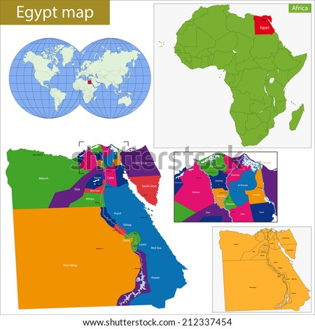 Administrative division of the Arab Republic of Egypt. - stock vector