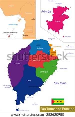 Administrative division of the Democratic Republic of Sao Tome and Principe - stock vector