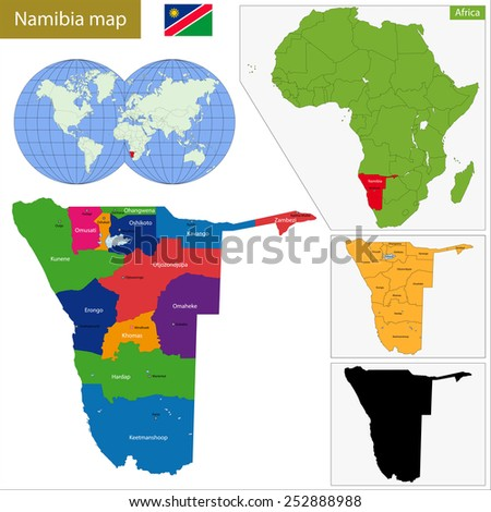 Administrative division of the Federal Republic of Namibia - stock vector