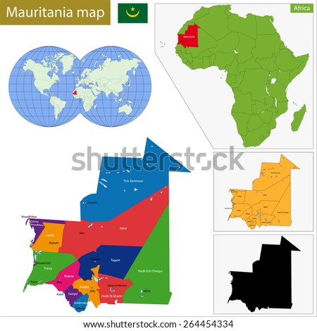 Administrative division of the Islamic Republic of Mauritania - stock vector