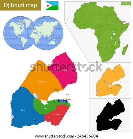 Administrative division of the Republic of Djibouti - stock vector