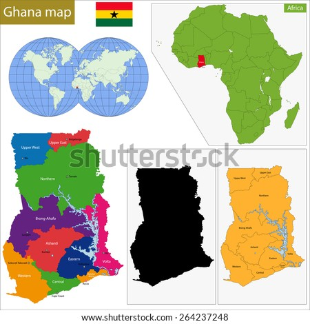 Administrative division of the Republic of Ghana - stock vector