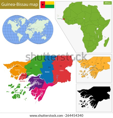 Administrative division of the Republic of Guinea-Bissau - stock vector