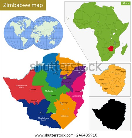Administrative division of the Republic of Zimbabwe - stock vector