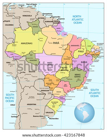 Administrative divisions map of Brazil. Vector illustration.