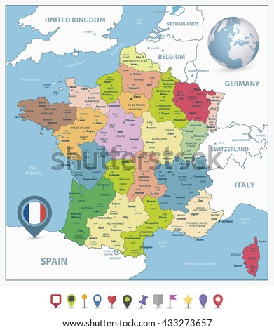 Administrative divisions map of France and flat navigation icons with separated layers.