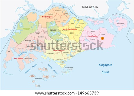 Administrative Divisions Singapore Stock Vector 149665739 Shutterstock