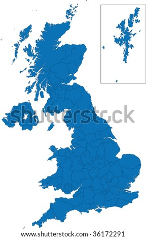 Administrative divisions of the United Kingdom - stock vector