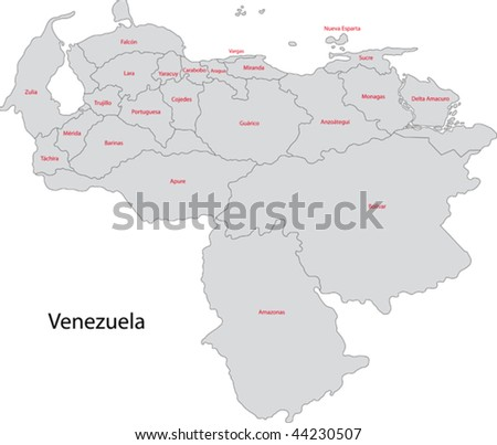 Administrative divisions of Venezuela - stock vector