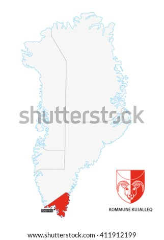 Administrative Map Greenland Kujalleq Municipality Coat Stock Vector
