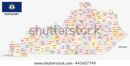 Administrative Map Flag Us State Kentucky Stock Vector - Kentucky map of us