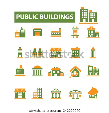 administrative, public buildings, houses  icons, signs vector concept set for infographics, mobile, website, application  - stock vector