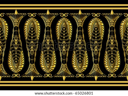 Admirable Gold Pattern on a Black Background - stock vector