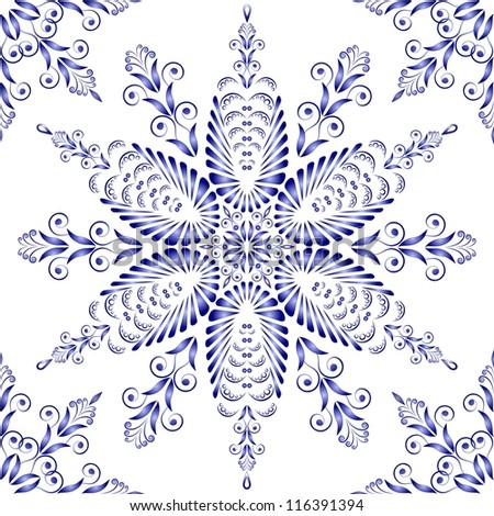 Admirable square blue pattern on a white background - stock vector