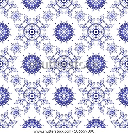 Admirable square blue pattern on a white background. Seamless - stock vector