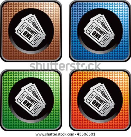 admission ticket colored checkered web buttons