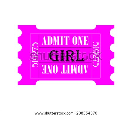 Admission Ticket - Pink for Girl - Vector