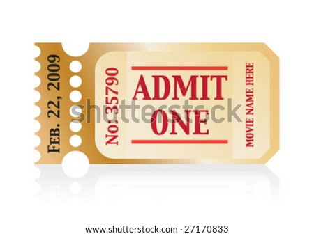 Admit one movie ticket with date and serial number - stock vector