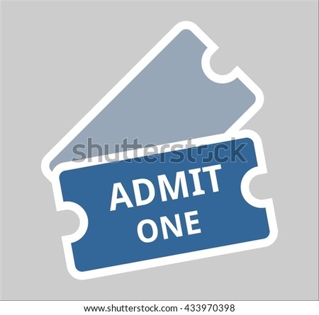 admit one ticket admission event symbol icon entry  - stock vector