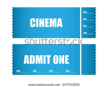 admit one ticket cinema tickets - stock vector