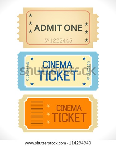 Admit One. Ticket Isolated on a White Background. Clean Style.