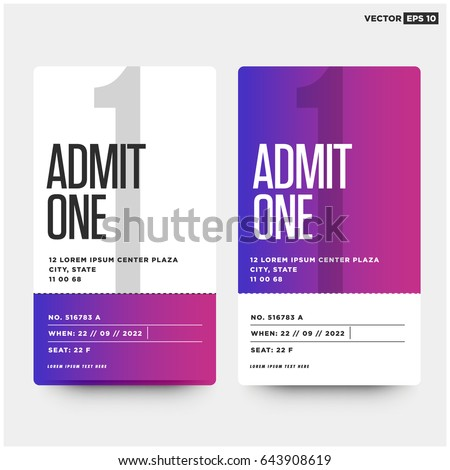 admit one ticket template number venue stock vector 643908619