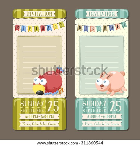adorable animal character birthday party invitation collection  - stock vector