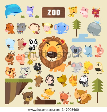 adorable animals collection set in cartoon style - stock vector