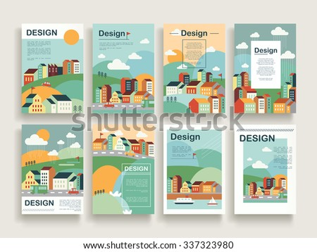adorable brochure template design set with downtown scenery in flat design - stock vector