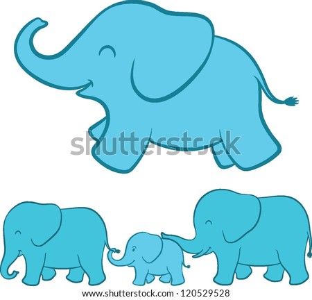 Adorable cartoon illustration of a happy playful baby blue ellie with a complete view of the whole elephant family walking in a line below touching each other with tenderness - stock vector