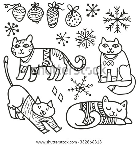 Adorable Christmas cats in warm sweaters. Hand drawn characters, decorations and snowflakes.