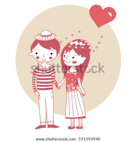 Adorable couple in love - stock vector